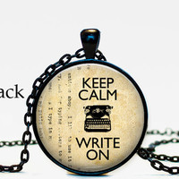 Keep calm and write on necklace pendant, vintage typewriter, gifts for writers, book lover, antique yellow paper ,resin, glass cabochon
