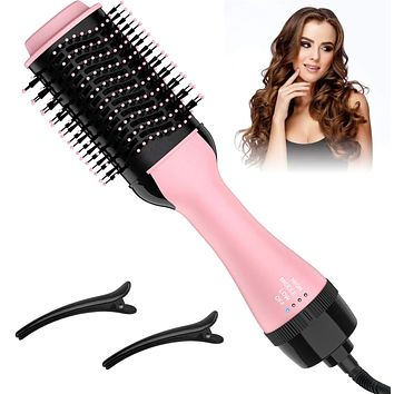 Upgrade Anti-scald Negative Ionic Technology Hot Air Brush and Hair Straightener Brush for Drying