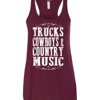 Trucks Cowboys & Country Music - Flowy, Racerback Tank Top, Various Colors Available