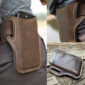 Men Cellphone Loop Holster Case Belt Waist Bag Props Leather Purse Phone Wallet