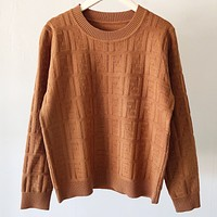Fendi New fashion more letter long sleeve top sweater Khaki