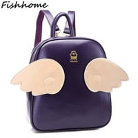 Designer Famous Brands Angel 3 Pairs Wings Women Backpacks Good Quality School Bag For Teenage Girls Leather Mochila Lady GH670Z