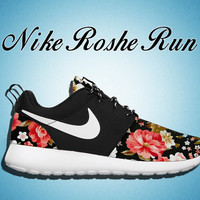 Floral Nike Roshe Run, Black and White Nike Floral Roshe, Floral Roshe,