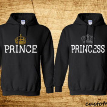 Couples Matching King and Queen with Crowns Cute Matching Hoodie Set