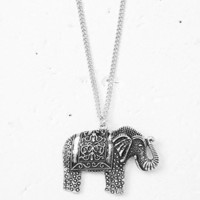 Etched Elephant Pendant Necklace