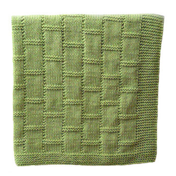 Knit Baby Blanket/ Afghan in Green, Knitted in Brick/ Basket Weave Deisgn,  Baby Shower Gift, Mothers Day Gift, Knit Lap Blanket/ Afghan
