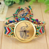 Women's Vintage Elephant Print Hand Watch with boho stripe Wool Knitting Strap