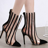 Hot style pointed suede short barrel thin heel high heel boots shoes