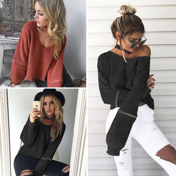 ♡ Cozy Knitted Warm Sweater Casual Loose Open Sleeve Zipper Jumper ♡