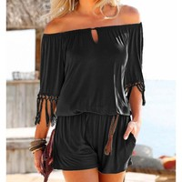 Tasseled sleeves Women's Rompers