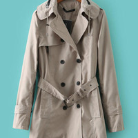 Hooded Long Sleeve with Double Buttoned and Notched Collar Fall Trench Coat