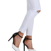 Sale- Black And White Colorblock Heels