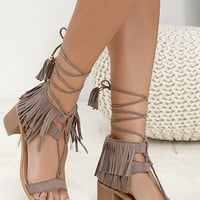 Taupe Fringe Suede Lace Up Heel