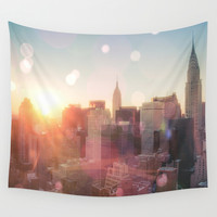 New York City Skyline Love Wall Tapestry by Vivienne Gucwa
