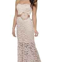 Lace Strapless Dress with Satin Tie Waist and Illusion Bottom Hem