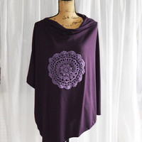 Plum Purple Nursing Poncho with Crocheted Doily/ Lightweight Nursing Cover/ Nursing Shaw/ Colorblock Tunic/ One shoulder Top/ Boho Clothing