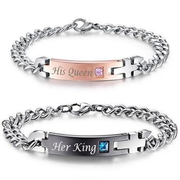 """""""His Queen"""", """"Her King"""" Stainless Steel Couple Bracelets"""