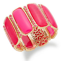 Style&co. Bracelet, Gold-Tone Pink Raspberry Cabochon Bangle Bracelet - All Fashion Jewelry - Jewelry & Watches - Macy's