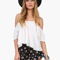 Strap Off-Shoulder Sleeve Tank Top