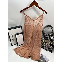 Gucci double G strappy sexy little loose-fitting slim dress