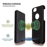 """Euddoo Magnetic Smart Battery Case 5000mAh for iphone 6 Plus / 6s Plus / 7 Plus Battery Pack Super Slim Portable Wireless Power Bank 5.5"""" Black"""
