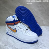 HCXX N748 Nike Air Force 1 AF1 Velcro USA Hihgt Leather Casual Skate Shoes White Blue Orange