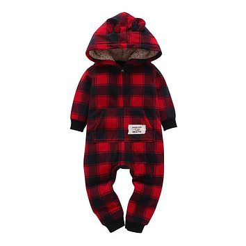 Kid boys Long Sleeve Hooded Fleece jumpsuit red plaid casual style born Boy winter one piece clothes