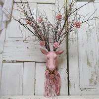 Deer head wall mount painted pink distressed shabby cottage chic ornate embellished large antlers home decor anita spero design