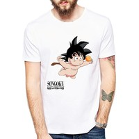 Funny Cartoon T-Shirt Men's Short Sleeve dive Design bare Kid Goku/Deadpool/Eleven/Jason/Pikachu Printed tshirt Cartoon Top Tees