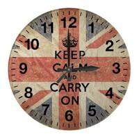 Keep Calm and Carry On with UK  Flag Clock from Zazzle.com