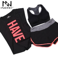 Innersy ( sport T shirt + bra + shorts 3pieces/set ) quick dry loose fitness short sleeve Yoga sport set outdoor suit Jzh134