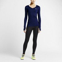 The Nike Pro Long-Sleeve V-Neck Women's Training Shirt.