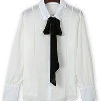 White Contrast Bow Tie Long Sleeve Shirt