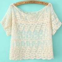 Crocheted Lace Cropped Tee - OASAP.com