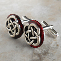 cufflinks: celtic knot - red - anniversary gift - irish jewelry -  fathers day - mens jewelry - celtic wedding - celtic cufflinks