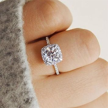 Classic Engagement Ring Design Cubic Zircon Female Women Wedding Band Rings Jewelry