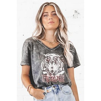 You're My Muse Charcoal Tiger Graphic Tee