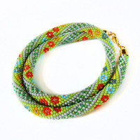 Green crochet bead rope Colorful Multicolored Green necklace Beaded Crochet Necklace Christmas jewelry Statement jewelry Flower print