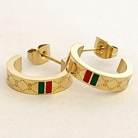 GG fashion wild double letter red green horizontal strip earrings Ear studs Gold