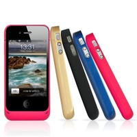 EC TECHNOLOGY 2200 mAh New design with a stand-by Rechargeable, Portable Battery Juice Red protective Case and Extended Battery for iphone4 / iphone4s-Retail Packaging