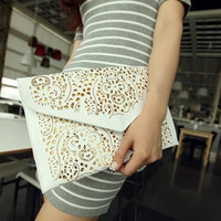 Popular Fluorescence Color Hollow-out Envelope Bags,Women's Candy Color One Shoulder Handbags,Fashion Day Clutch Bags M28