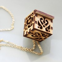 Victorian Locket Necklace  Lace Filigree Designs in Wood by iluxo