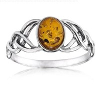 Sterling Silver Amber Celtic Love Knots Ring, Size 7