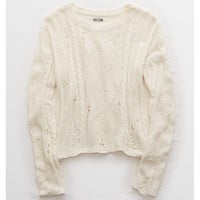 Aerie Distressed Cable Sweater, Cream