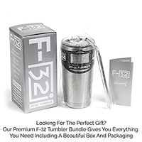 F-32 20 Oz. Stainless Steel Tumbler Premium Bundle - Sky Blue Pink Black White Colors - Stainless Straw + Cleaning Brush + Splash Proof Lid + Silver Gift Box + Manual