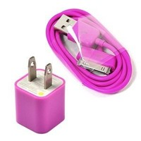 Cosmos Hot Pink Wall Ac Charger USB Sync Data Cable for Iphone 4 4s 3g/s Ipod + Free Cosmos Cable T