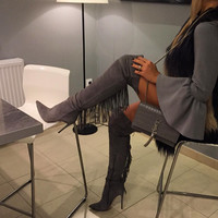 Avril Gray Fringe Suede Boots