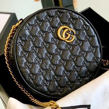 GUCCI New fashion more letter chain leather shoulder bag crossbody bag Black
