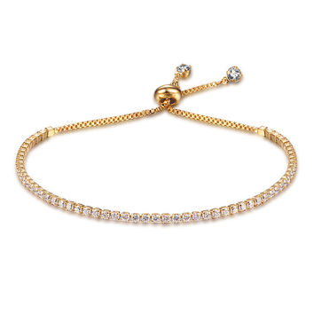 Party Jewelry Adjustable Bracelet For Women 2mm Cubic Zirconia Gold Plated Blacelets & Bangles Friend Gift