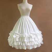 2017 New White Chiffon Skirt with Layered Ruffles Beautiful Long Petticoat
